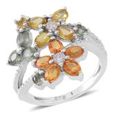 Multi Sapphire Sterling Silver Floral Split Ring (Size 10.0) TGW 2.52 cts.