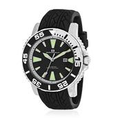 OCEANAUT Japanese Movement Water Resistant Men's Watch with Black Silicone Band and Stainless Steel Back