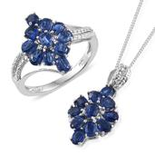 Himalayan Kyanite Platinum Over Sterling Silver Ring (Size 6) and Pendant With Chain (20 in) TGW 4.78 cts.