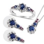 Himalayan Kyanite, Orissa Rhodolite Garnet Platinum Over Sterling Silver Earrings, Ring (Size 6) and Pendant With Chain (20 in) TGW 4.140 cts.