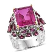 Radiant Orchid Quartz, Orissa Rhodolite Garnet, Russian Diopside 14K YG and Platinum Over Sterling Silver Openowrk Ring (Size 8.0) TGW 13.81 cts.