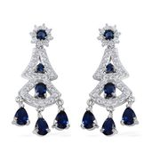 Simulated Blue and White Diamond Silvertone Chandelier Earrings TGW 45.80 cts.