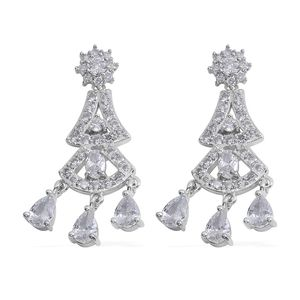 Simulated White Diamond Silvertone Chandelier Earrings TGW 45.80 cts.