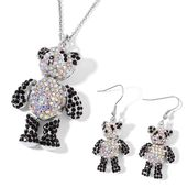 White and Black Austrian Crystal Silvertone Teddy Bear Earrings and Pendant With Stainless Steel Chain (24 in)