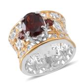 Mozambique Garnet 14K YG Over and Sterling Silver Openwork Wide Band Ring (Size 7.0) TGW 3.100 cts.