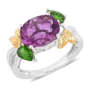 Purple Fluorite, Russian Diopside 14K YG Over and Sterling Silver Split Ring (Size 7.0) TGW 3.75 cts.