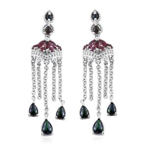 Ethiopian Sable Welo Opal, Orissa Rhodolite Garnet Platinum Over Sterling Silver Chandelier Earrings TGW 3.69 cts.