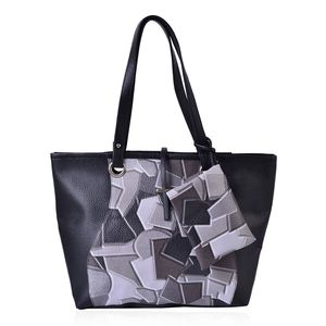 Black and Gray Abstract Print Faux Leather Tote (14x4x11 In) with Matching Detachable Coin Wristlet (6x4.5 In)