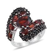 Mozambique Garnet, Thai Black Spinel Platinum Over Sterling Silver Bypass Ring (Size 8.0) TGW 9.805 cts.