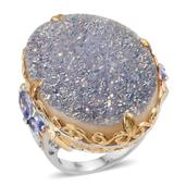 Pearl Shimmer Drusy Quartz, Tanzanite 14K YG and Platinum Over Sterling Silver Statement Ring (Size 8.0) TGW 50.71 cts.