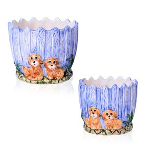 Set of 2 Dog Printed Ceramic Garden Pots (4.5x4.5x5, 4x4x4 in)