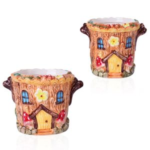 Set of 2 Round House Ceramic Garden Pots (5x4.5x4.5, 4.5x3.5x3.5 in)