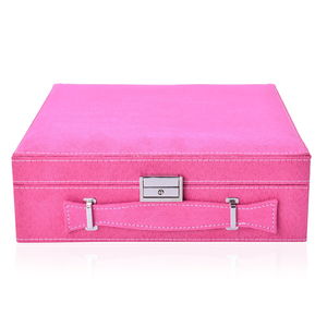 TLV Fuchsia Velvet 2 Tier 23 Sections Jewelry Box with Anti Tarnish treated lining, Store Approx 60 Rings, 10 Necklaces, 3 Bracelets and 10 Open Sections (10.2x10.2x3.2 in)