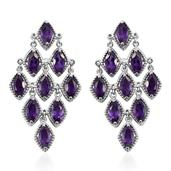 Lusaka Amethyst Platinum Over Sterling Silver Earrings TGW 9.850 Cts.