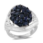 Kanchanaburi Blue Sapphire Platinum Over Sterling Silver Statement Ring (Size 8.0) TGW 4.30 cts.