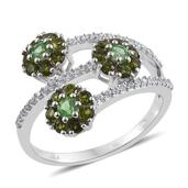 Brazilian Mint Garnet, Russian Diopside, White Zircon Platinum Over Sterling Silver Bypass Ring (Size 7.0) TGW 1.530 cts.