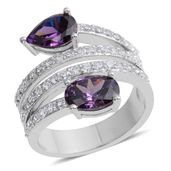 Simulated Purple Diamond, Simulated Diamond Silvertone Bypass Split Ring (Size 6.0) TGW 4.452 cts.