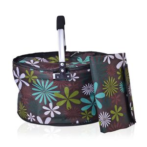 Multi Color Polyester Printed Collapsible Insulation Picnic Basket Set of 2