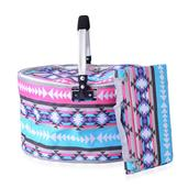 2 Piece Pink and Blue Santa Fe Style Polyester Collapsible Insulated Picnic Basket with Matching Foldable Waterproof Blanket (55x44 In)