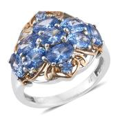 J Francis - 14K YG and Platinum Over Sterling Silver Openwork Ring Made with Blue SWAROVSKI ZIRCONIA (Size 5.0) TGW 5.85 cts.