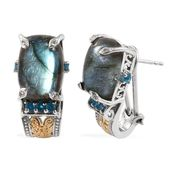 Malagasy Labradorite, Malgache Neon Apatite, White Zircon 14K YG and Platinum Over Sterling Silver Omega Clip Earrings TGW 16.230 Cts.