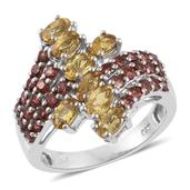 Marialite, Mozambique Garnet Platinum Over Sterling Silver Bypass Ring (Size 7.0) TGW 3.37 cts.