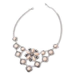 White Howlite, Austrian Crystal Silvertone Bib Flower Necklace (20-22 in) TGW 250.000 Cts.