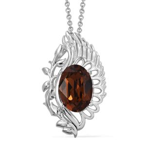 KARIS Collection - Platinum Bond Brass Pendant With Stainless Steel Chain (20 in) Made with SWAROVSKI Brown Crystal TGW 5.20 cts.