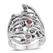 Madagascar Pink, Green and Red Sapphire Sterling Silver Openwork Elongated Ring (Size 7.0) TGW 1.000 cts.