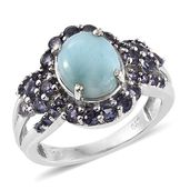 Larimar, Catalina Iolite Platinum Over Sterling Silver Ring (Size 6.0) TGW 5.02 cts.