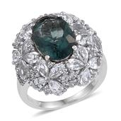 Belgian Teal Fluorite, White Topaz Platinum Over Sterling Silver Openwork Ring (Size 9.0) TGW 14.37 cts.