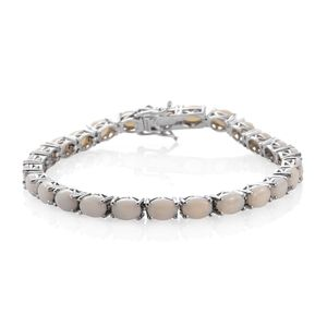 Australian White Opal Platinum Over Sterling Silver Bracelet (7.75 In) TGW 13.00 cts.