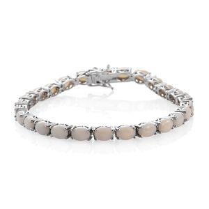 Australian White Opal Platinum Over Sterling Silver Bracelet (7.75 In) TGW 13.00 cts.
