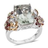 Green Amethyst, Multi Gemstone 14K YG and Platinum Over Sterling Silver Openwork Floral Ring (Size 7.0) TGW 7.79 cts.