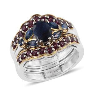 Kanchanaburi Blue Sapphire, Orissa Rhodolite Garnet 14K YG and Platinum Over Sterling Silver Stackable Ring (Size 7.0) TGW 3.98 cts.
