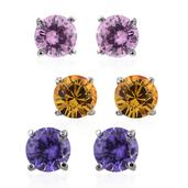 Set of 3 Simulated Pink and Purple Diamond Stainless Steel Round Stud Earrings Made with SWAROVSKI Yellow Crystal
