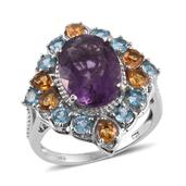 Purple Fluorite, Brazilian Citrine, Electric Blue Topaz Platinum Over Sterling Silver Ring (Size 10.0) TGW 8.90 cts.