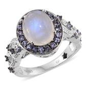 GP Sri Lankan Rainbow Moonstone, Tanzanite Platinum Over Sterling Silver Ring (Size 9.0) TGW 6.180 cts.