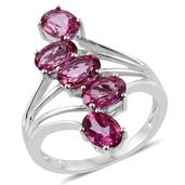 Pure Pink Mystic Topaz Platinum Over Sterling Silver 5 Stone Ring (Size 5.0) TGW 4.650 cts.