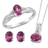 Pure Pink Mystic Topaz Platinum Over Sterling Silver Stud Earrings, Split Ring (Size 6) and Pendant With Stainless Steel Chain (20 in) TGW 3.760 cts.