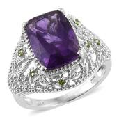 Lusaka Amethyst, Russian Diopside Platinum Over Sterling Silver Openwork Ring (Size 7.0) TGW 6.530 cts.