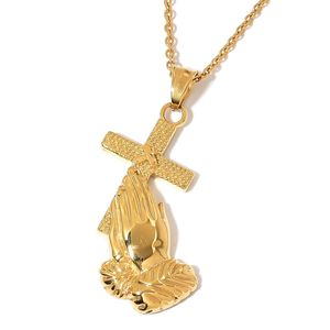 ION Plated YG Stainless Steel Praying Hands Cross Pendant With Chain (20 in)