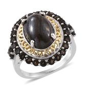 Tiger Iron, Brazilian Smoky Quartz 14K YG and Platinum Over Sterling Silver Ring (Size 6.0) TGW 10.30 cts.