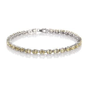 Madagascar Yellow Apatite Platinum Over Sterling Silver Bracelet (7.75 In) TGW 7.68 cts.