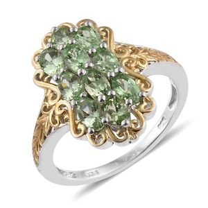 Merelani Mint Garnet 14K YG and Platinum Over Sterling Silver Openwork Ring (Size 6.0) TGW 2.66 cts.