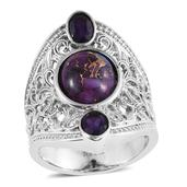 Mojave Purple Turquoise, Amethyst Stainless Steel Ring (Size 7.0) TGW 6.64 cts.