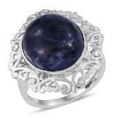 KARIS Collection - Sodalite Platinum Bond Brass Openwork Ring (Size 6.0) TGW 9.980 cts.