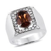 Stainless Steel Men's Ring (Size 14.0) Made with SWAROVSKI Brown and White Crystal