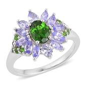 Russian Diopside, Tanzanite Sterling Silver Ring (Size 7.0) TGW 2.150 cts.
