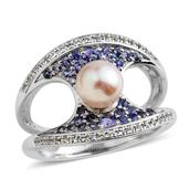 Pearl Expressions Japanese Akoya Pearl, Multi Gemstone Sterling Silver Split Concave Ring (Size 9.0) TGW 0.90 cts.